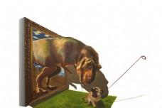 3D侏罗纪公园立体恐龙背景墙
