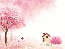 室内瓷砖背景墙春天