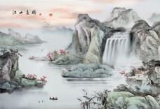 手绘高山流水图片