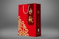 大红色大气中秋手提袋包装设计