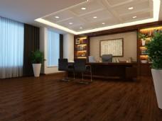 现代气派办公室实木木地板3D渲染图