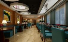 大气餐厅场景3D模型效果图下载