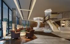 暖色系房产售楼处效果图3D模型