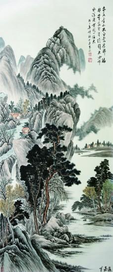 中式挂画千山鸟飞绝效果图下载