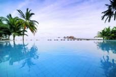 3D高清海滩椰树背景墙