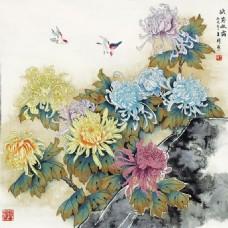 秋菊背景墙素材
