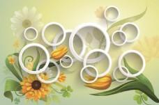 3D立体圆圈花朵背景墙壁画墙画