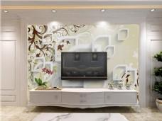 简约背景墙客厅效果图模版