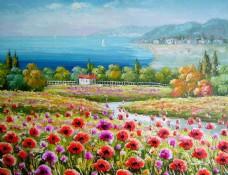 美丽风景油画背景墙素材