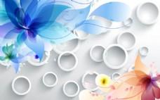 梦幻3D花朵圆圈瓷砖背景墙