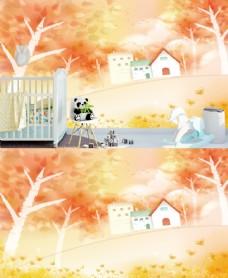 秋季手绘儿童房背景墙图片