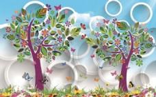 卡通花树蝴蝶3D圆圈瓷砖背景墙