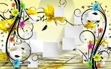 多彩花朵室内瓷砖背景墙