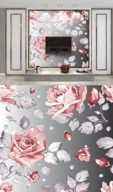 粉色手绘玫瑰电视背景墙