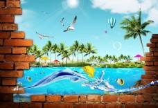 3D立体夏威夷窗外风景背景墙