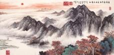 室内挂画山水画背景墙一览众山小