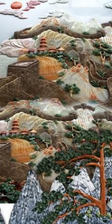 玉雕山水瓷砖高清背景墙