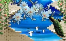 中式3D立体仙鹤孔雀背景墙墙画壁画