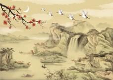 高山流水仙鹤背景墙素材