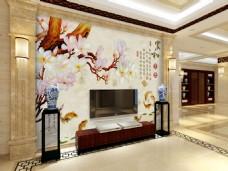 别墅风格3D电视背景墙