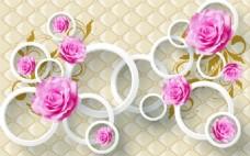 3D软包圆圈玫瑰花背景墙