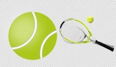 绿色网球和球拍免抠png透明图层素材