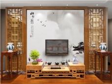 中式背景墙场景模版
