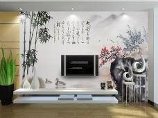 中式风格山水画背景墙模板