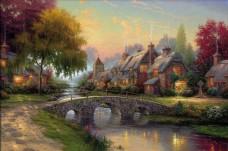 欧洲乡村风景画背景墙素材