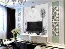 背景墙现代客厅场景效果图