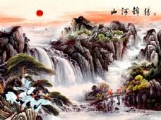 锦绣山河背景墙下载