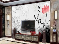 中式背景墙效果图模板高清