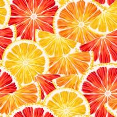 创意柠檬和西柚切片无缝背景