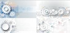 简洁白灰齿轮商务背景