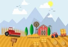 农场秋收矢量素材