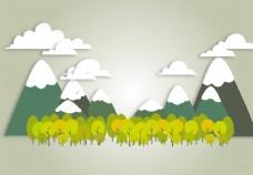 剪纸风山与树
