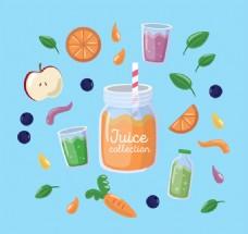 9款彩色水果和果汁矢量