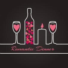浪漫晚餐插画矢量素材