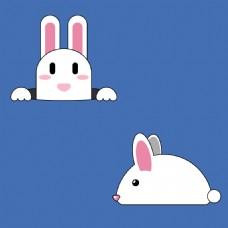 免抠素材可爱手绘漫画兔子玉兔psd分层