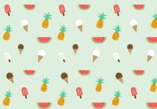 夏天冰激凌水果图案矢量素材