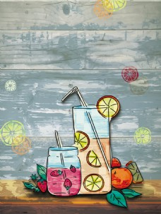 手绘水彩果汁饮料背景图