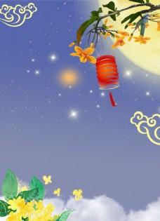 喜庆圆月灯笼背景