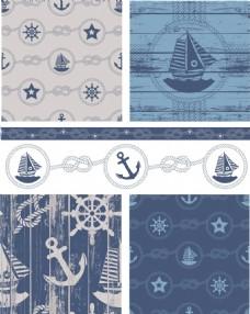 航海浪花帆船矢量素材
