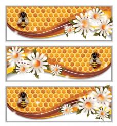 白色小花蜂巢蜂蜜矢量设计元素