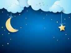 矢量蓝色卡通云层月夜儿童画背景