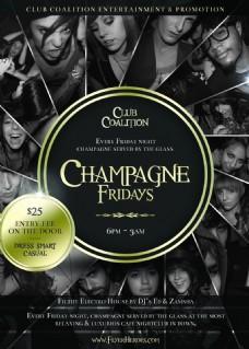 champagnefriday国外创意欧美风酒吧宣传海报宣传单页