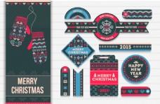 针织图案圣诞吊牌矢量素材