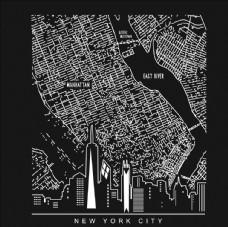 纽约曼哈顿高楼地图轨迹矢量图下