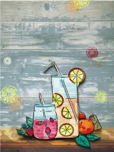 彩色水果饮料广告背景图