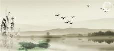 中国风水墨风景背景图